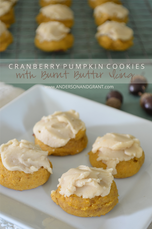 These cranberry pumpkin cookies with burn butter icing are the perfect flavor for the fall season!  | www.andersonandgrant.com