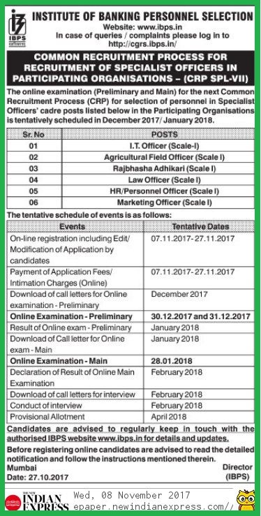 IBPS SO Apply Online, IBPS Specialist Officers Recruitment 2017-18 - 1315 Vacancies