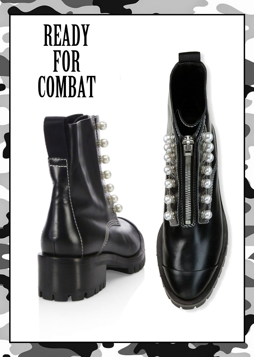 3.1 Phillip Lim Hayett Pearl Embellished Leather Combat Boot