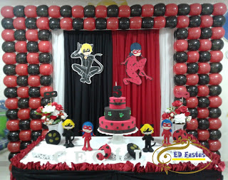Mesa decorada Ladybug balões