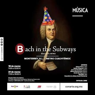 """Cartel anunciando el movimiento """"Bach in the Subways"""" en el metro de Monterrey (México)."""