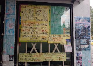 Tarifas, buses, transporte, Cameron hihglands, Kuala lumpur, Hat Yai, Ipoh, Kuala perlis, KL Sentral