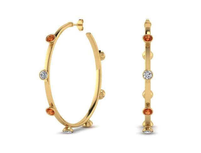 Multi-color Diamond Hoop Earrings