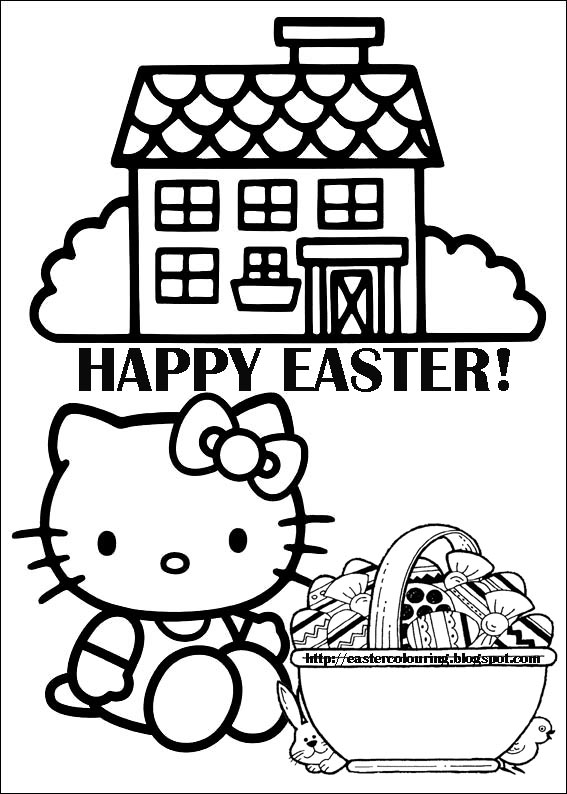 EASTER COLOURING: HELLO KITTY TO PRINT AND COLOR EASTER ...