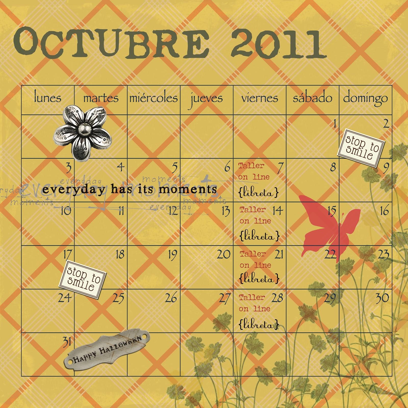 Fechas Talleres Dulces De Octubre: Con P De Papel: Calendario Octubre