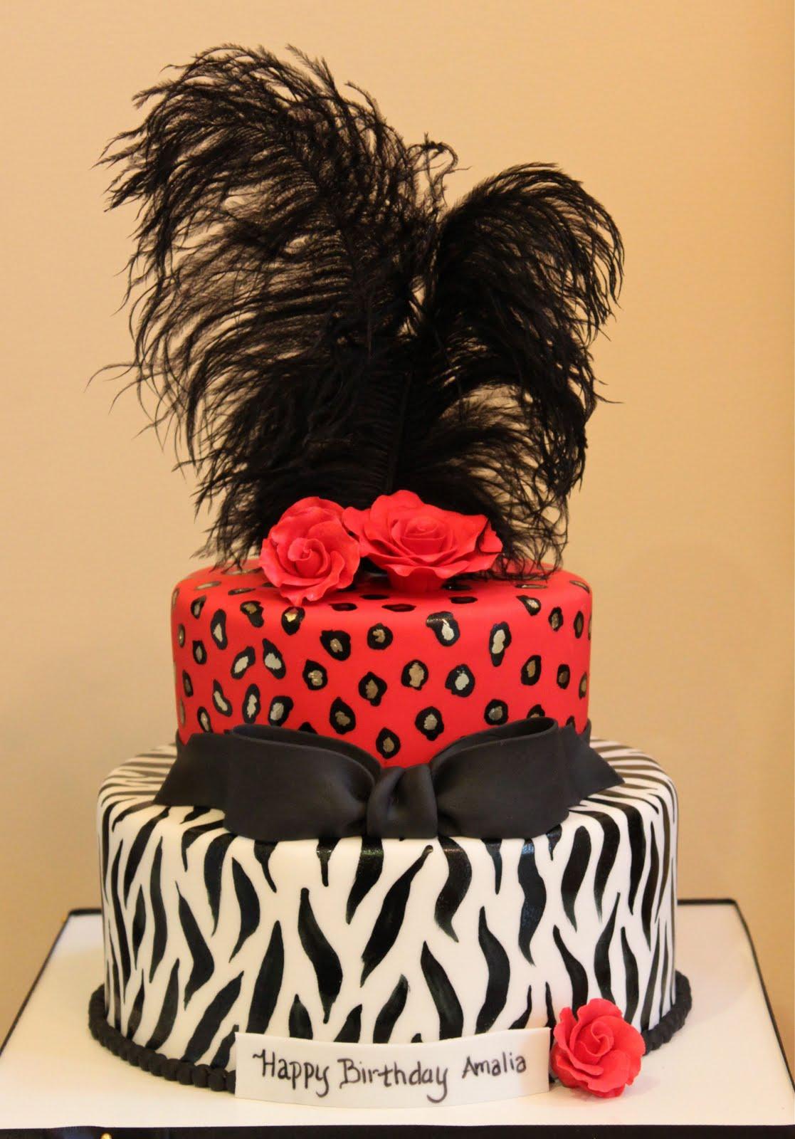 Zebra Leopard Birthday Cake