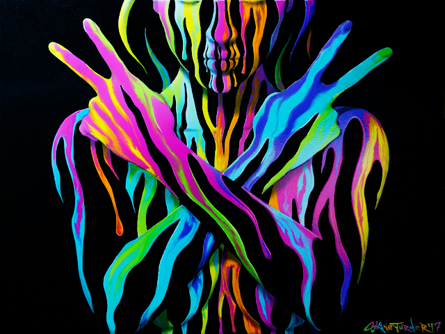 Painting of a woman with her eyes closed, arms crossed and hands making peace signs. Surreal image made of dripping neon acrylic paint.