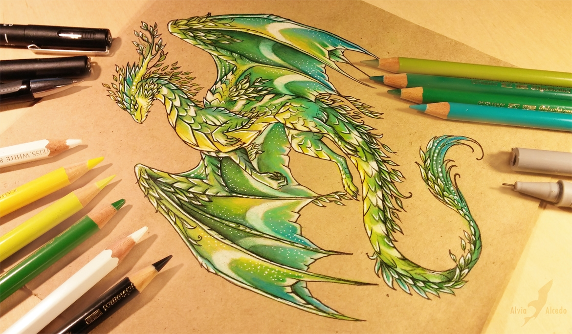 15-Summer-forest-dragon-Alvia-Alcedo-Dragon-and-other-Mythical-Fantasy-Drawings-www-designstack-co