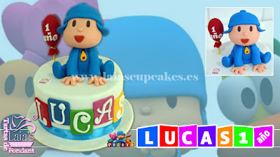 Tarta personalizada fondant Pocoyó Lucas cumpleaños Laia's Cupcakes Puerto Sagunto