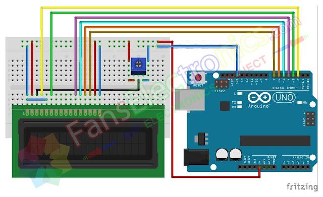 Skematik LCD16x2 Arduino