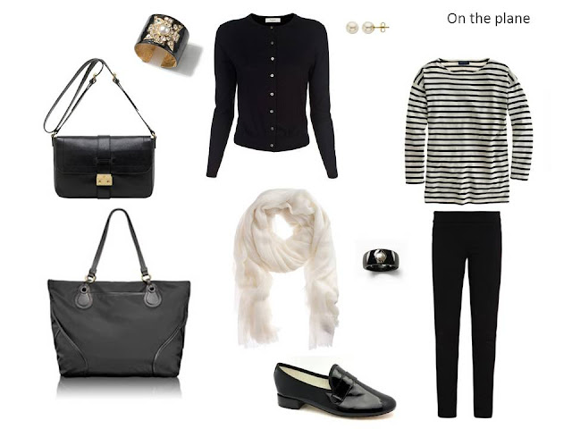 travel outfit with a black cardigan and pants, and a striped tee