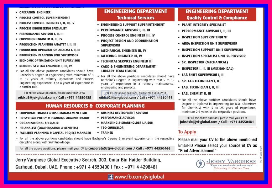 Saudi Refinery Jobs - Large openings - Jerry Varghese - Gulf Jobs