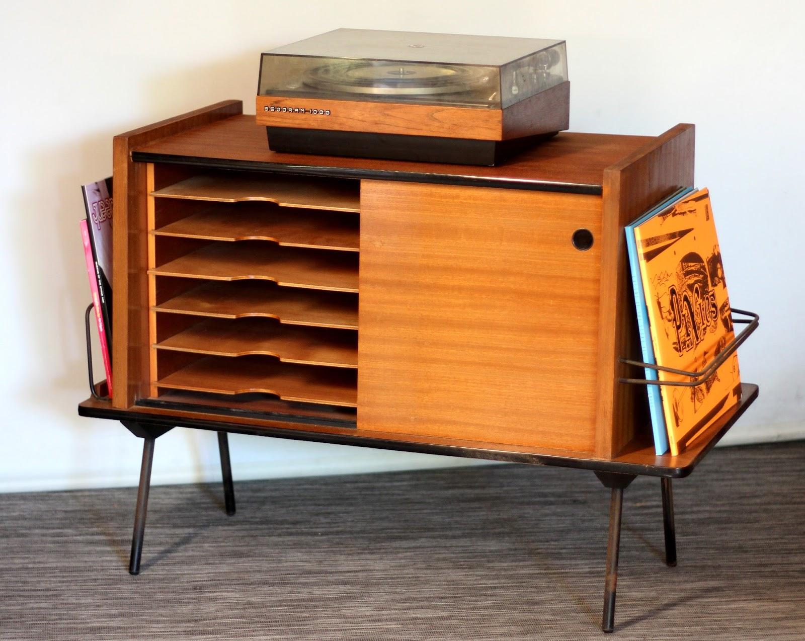meuble hi fi vinyles vintage