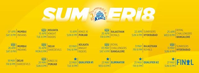 CSK IPL 2018 Schedule Games