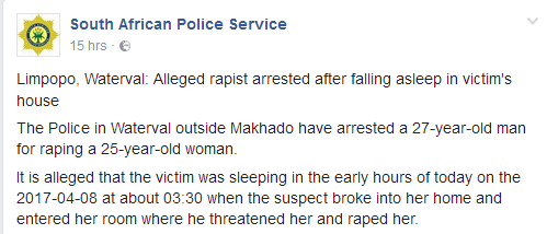 Alleged rapist arrested after falling asleep in victim's house