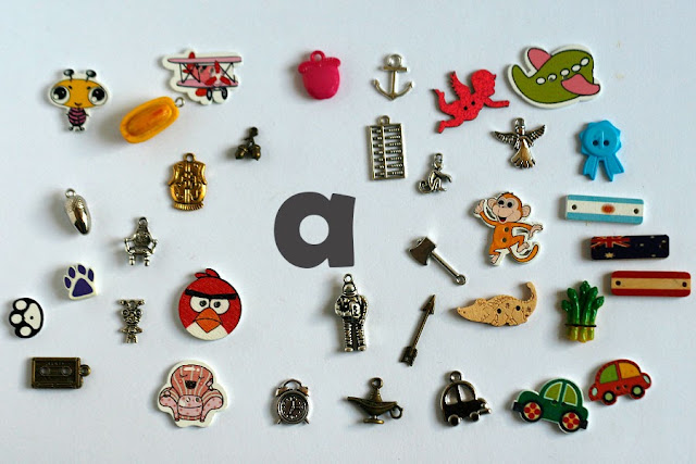 TomToy Individual letter A I spy trinkets for alphabet, Miniature abc objects, Montessori alphabet. Sorting toddler activities