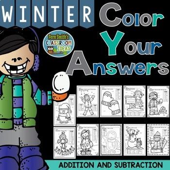 Winter Fun! Basic Addition and Subtraction Facts - Color By Numbers at TpT.
