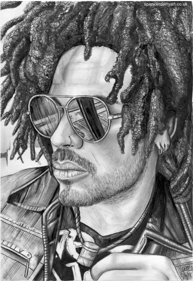 Pencil Drawing of Musician Lenny Kravitz.