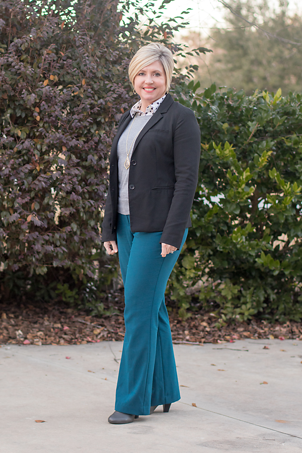 black blazer outfit, teal pants
