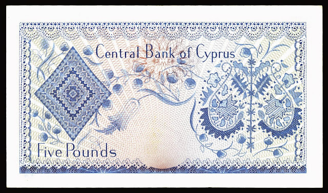 Cyprus money currency 5 Cypriot Pound note 1967
