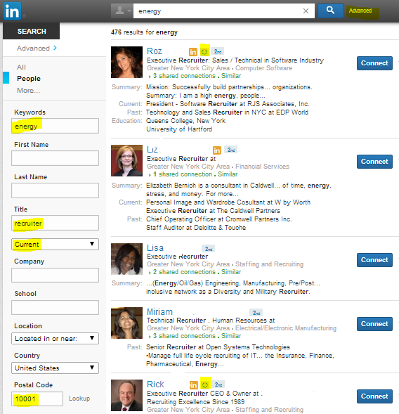 find LinkedIn open profile recruiters