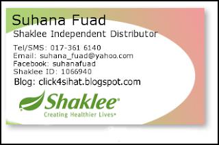 Saya adalah Pengedar Sah Shaklee bagi kawasan Puchong dan sekitarnya
