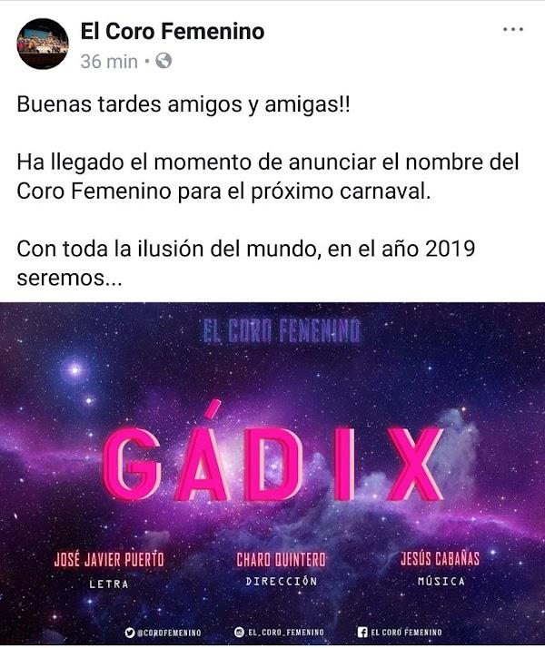 En 2018 fueron 'La Mari' en 2019 el Coro Femenino será 'Gádix'