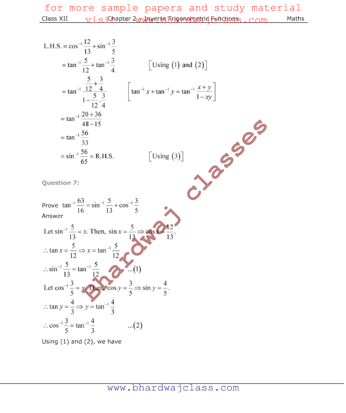 NCERT Solutions class 12 maths chapter 2