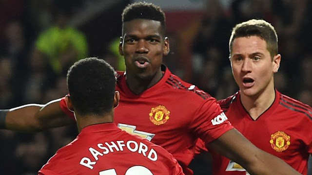 Paul Pogba, Marcus Rashford and Ander Herrera Manchester United