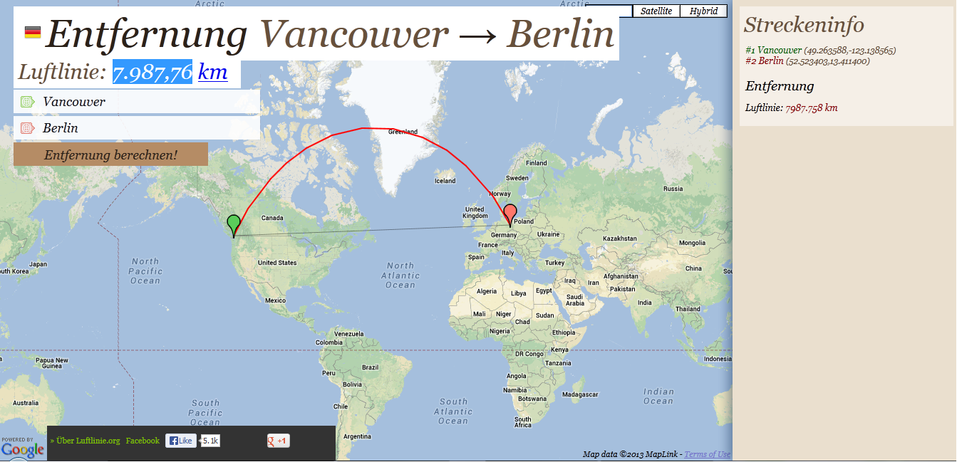 Entfernung Deutschland Kanada