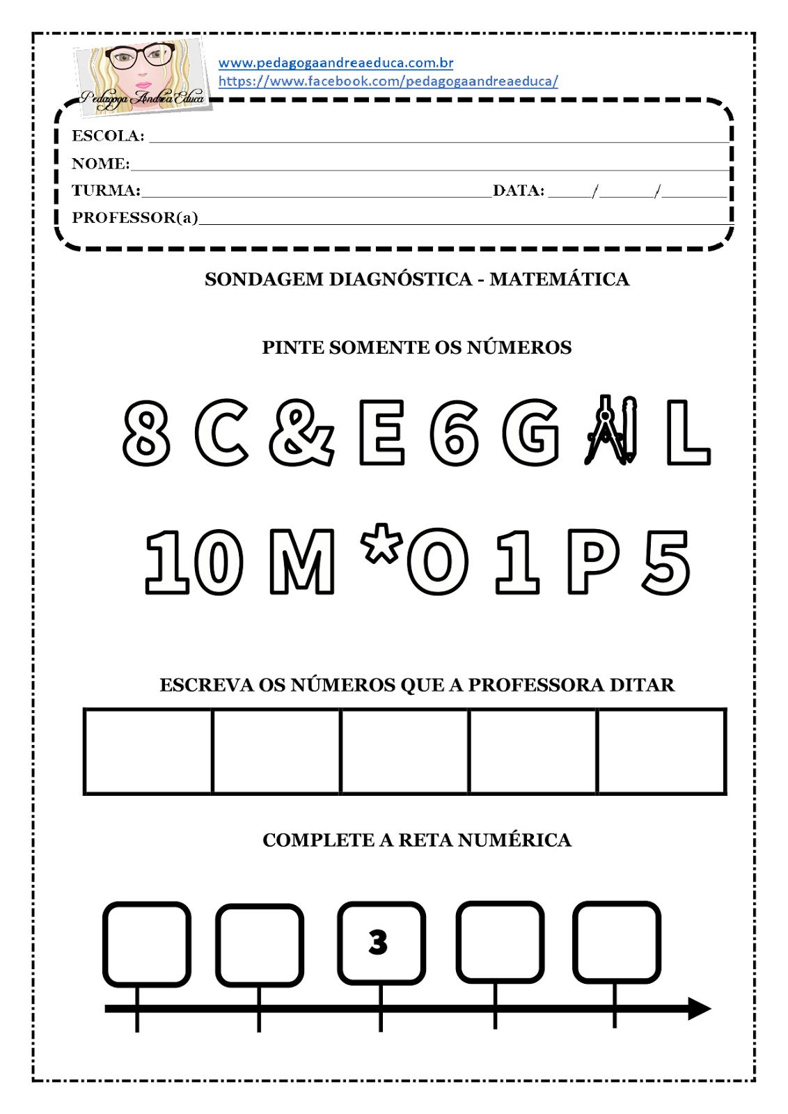 Atividade Para Imprimir Sondagem Diagnostica 1º Ano Matematica