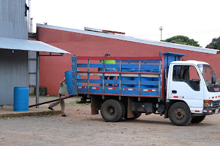 Truck picking up barrels of food from store in Puriscal.