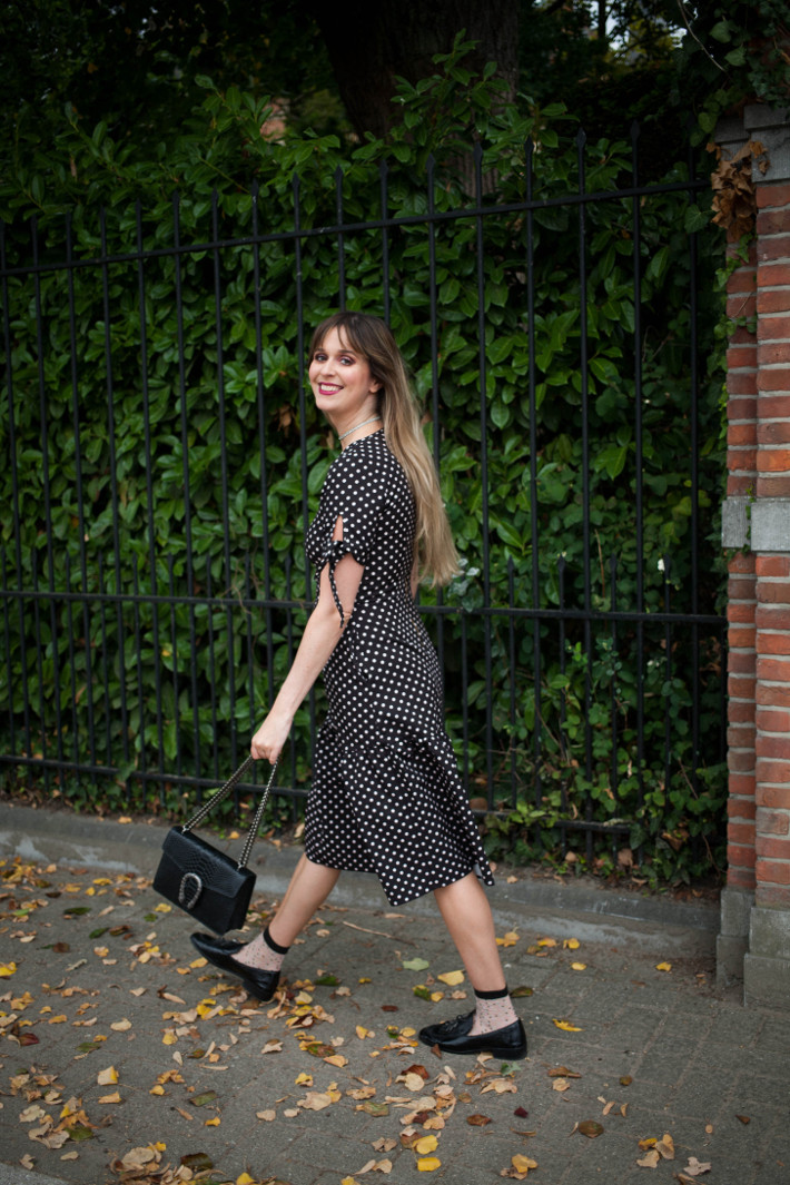 Outfit: polkadot dress, socks and loafers