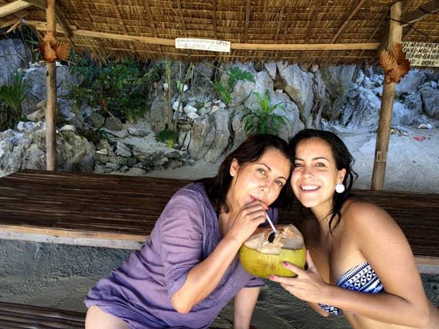 Drinking Buko Juice in Coron