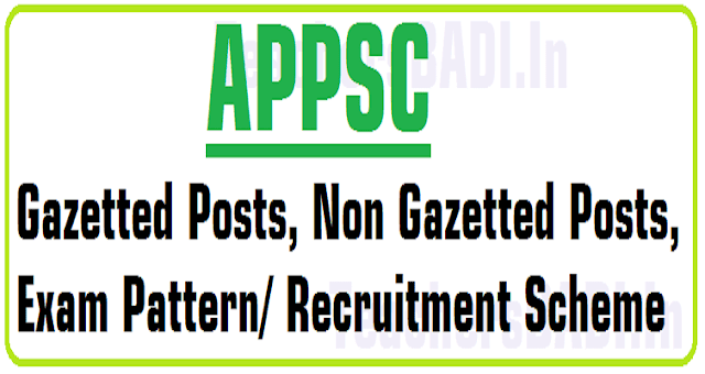 APPSC Gazetted,Non Gazetted Posts, Exam Pattern/ Recruitment Scheme