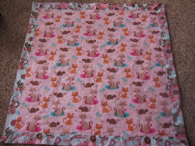 mitered flannel baby blanket girl
