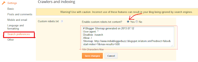 How to setup blogger robot.txt for better SEO