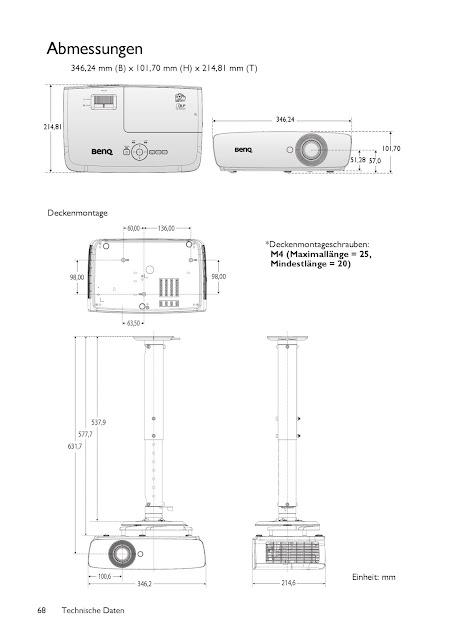 Abmessungen Beamer BenQ TH683 Full HD 3D DLP-Projektor