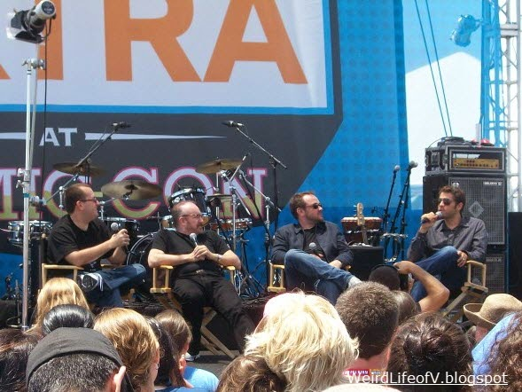 Mark Sheppard and Misha Collins doing a panel at the Extra stage outside the San Diego Convention Center during SDCC 2012