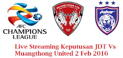 Keputusan terkini JDT Vs Muangthong United 2 Feb 2016