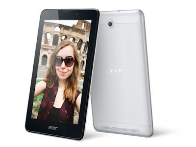 Acer Iconia Tab 7 A1-713 Specifications - LAUNCH Announced 2014, April  Tablet with support for GSM voice communication, SMS, and MMS DISPLAY Type TFT capacitive touchscreen Size 7.0 inches (~64.5% screen-to-body ratio) Resolution 600 x 1024 pixels (~170 ppi pixel density) Multitouch Yes BODY Dimensions 8.9 mm thickness Weight 298 g (10.51 oz) SIM Yes PLATFORM OS Android OS, v4.2.2 (Jelly Bean), planned upgrade to v4.4.2 (KitKat) CPU Quad-core Chipset  GPU  MEMORY Card slot microSD, up to 32 GB (dedicated slot) Internal  16 GB, 1 GB RAM CAMERA Primary 2 MP Secondary Yes Video Yes NETWORK Technology GSM / HSPA 2G bands GSM 850 / 900 / 1800 / 1900 N/A 3G bands HSDPA Speed HSPA GPRS Yes EDGE Yes COMMS WLAN WLAN Wi-Fi 802.11 b/g/n GPS Yes USB microUSB v2.0 Radio No Bluetooth Yes FEATURES Sensors Accelerometer Messaging SMS (threaded view), MMS, Email, Push Email, IM Browser HTML5 Java No SOUND Alert types Vibration; MP3, WAV ringtones Loudspeaker Yes 3.5mm jack Yes BATTERY  Non-removable Li-Ion battery Stand-by  Talk time Up to 6 h (multimedia) Music play  MISC Colors Black  - MP3/WAV/eAAC+ player - MP4/H.263 player - Photo viewer/editor