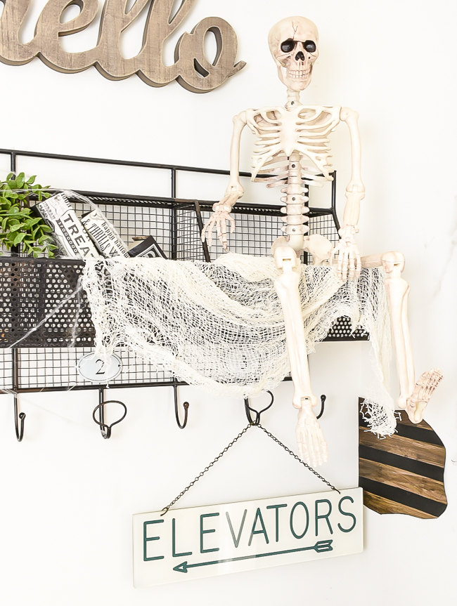Halloween decorating with cheesecloth and cobwebs