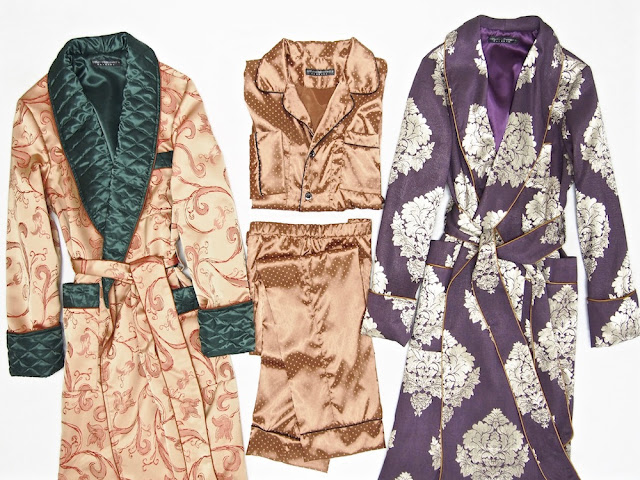 Men's big and tall silk dressing gown traditional pajamas set paisley robe quilted long