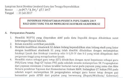 Jadwal dan Syarat Pendaftaran Peserta PLPG 2017 Lulusan S2 Dari Ditjen GTK
