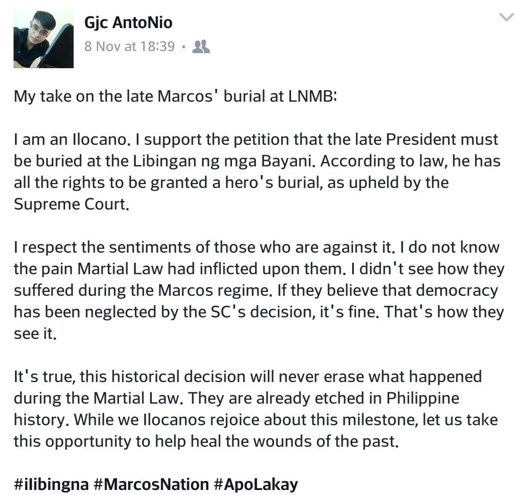 Ilocano netizen on Marcos Burial: Let this be an opportunity to heal wounds