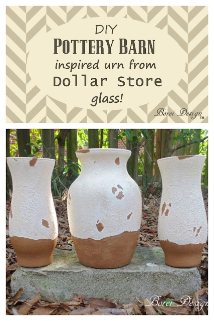 DIY tutorial how to make Pottery Barn Tuscan Urn inspired pots and vases from dollar store glass.