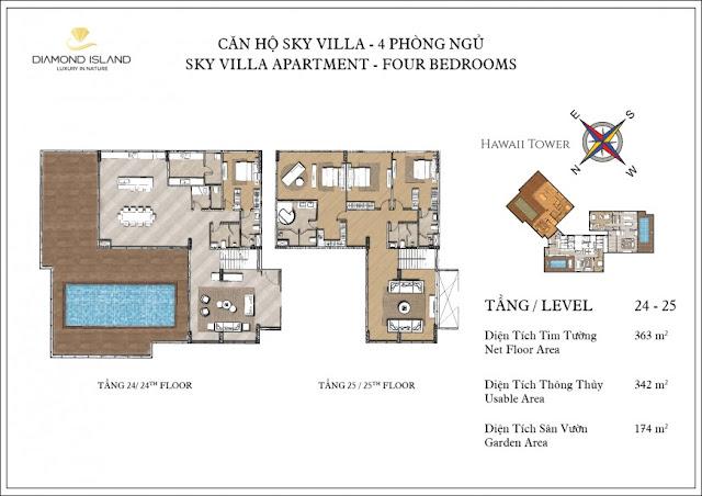căn hộ sky villa 4 phòng ngủ dự án căn hộ Đảo Kim Cương