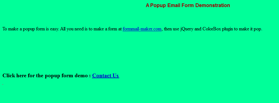 How to show a popup contact us page with jquery - Mesh Software