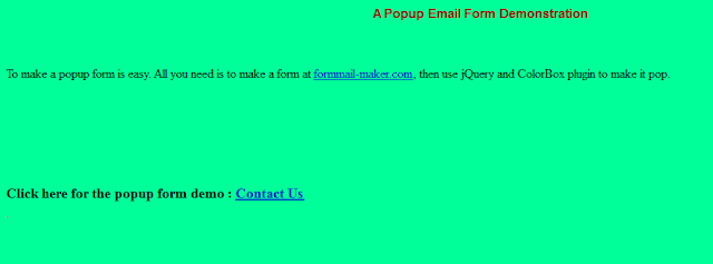 How to show a popup contact us page with jquery