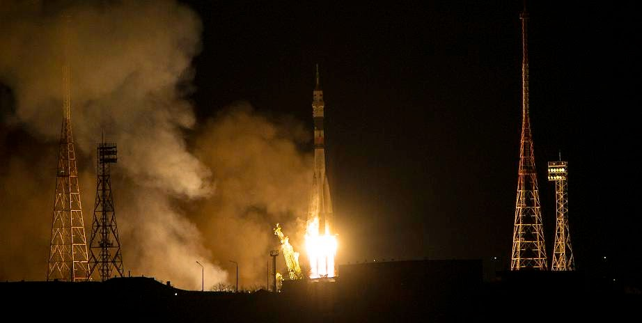 The Soyuz TMA-15M rocket launches from the Baikonur Cosmodrome in Kazakhstan on Monday, Nov. 24, 2014 carrying Expedition 42 Soyuz Commander Anton Shkaplerov of the Russian Federal Space Agency (Roscosmos), Flight Engineer Terry Virts of NASA, and Flight Engineer Samantha Cristoforetti of the European Space Agency (ESA) into orbit to begin their five and a half month mission on the International Space Station. (Photo Credit: NASA/Aubrey Gemignani)